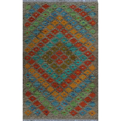 One-of-a-Kind Kratzerville Kilim Adowa Hand-Woven Wool Gold Area Rug