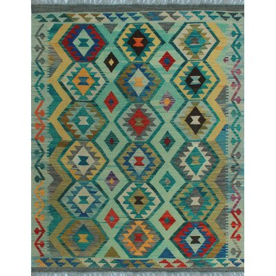 One-of-a-Kind Kratzerville Kilim Ye Hand-Woven Wool Green Area Rug