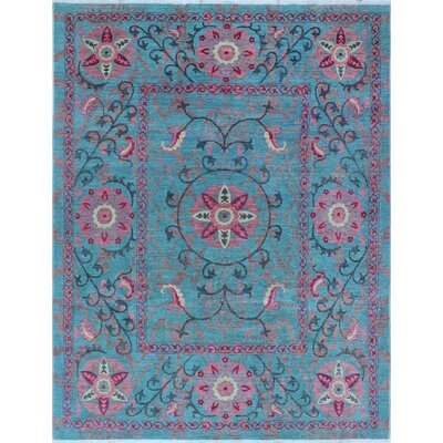 One-of-a-Kind Millbourne Fine Chobi Alile Hand-Knotted Wool Blue Area Rug