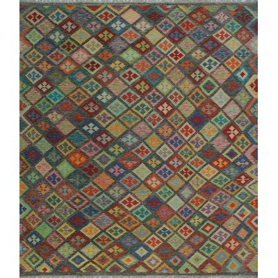 One-of-a-Kind Kratzerville Kilim Khaldun Hand-Woven Wool Brown Area Rug