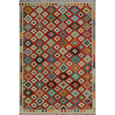 One-of-a-Kind Kratzerville Kilim Sadiki Hand-Woven Wool Red Area Rug