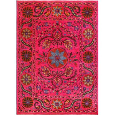 One-of-a-Kind Millbourne Fine Chobi Adedagbo Hand-Knotted Wool Pink Area Rug