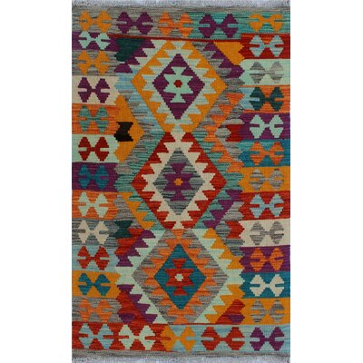 One-of-a-Kind Kratzerville Kilim Adeleka Hand-Woven Wool Red Area Rug