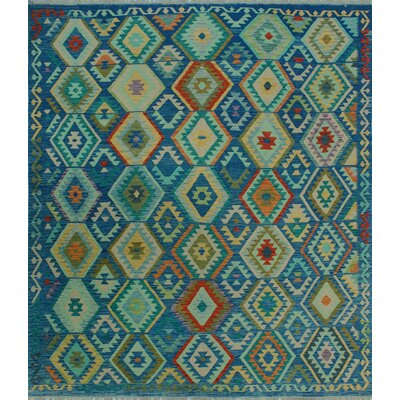 One-of-a-Kind Kratzerville Kilim Kibibi Hand-Woven Wool Blue Area Rug