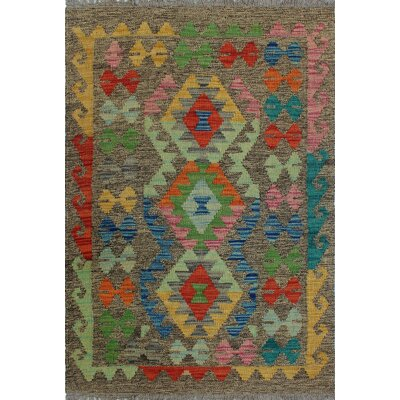 One-of-a-Kind Kratzerville Kilim Pili Hand-Woven Wool Brown Area Rug
