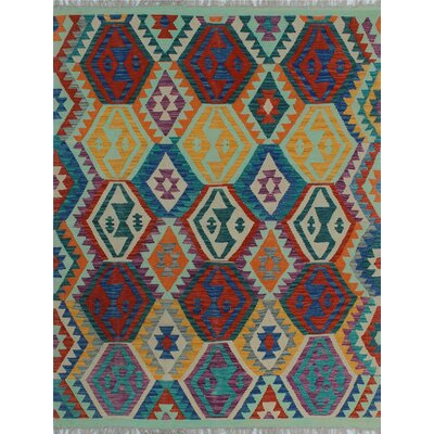 One-of-a-Kind Kratzerville Kilim Dawud Hand-Woven Wool Ivory Area Rug