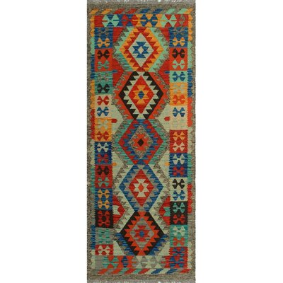 One-of-a-Kind Kratzerville Kilim Ayobunmi Hand-Woven Wool Red Area Rug