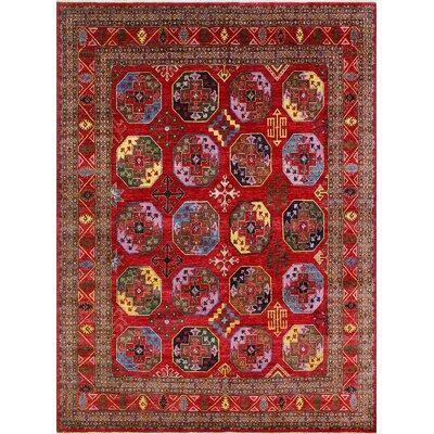 One-of-a-Kind Millbourne Fine Chobi Kofi Hand-Knotted Wool Red Area Rug