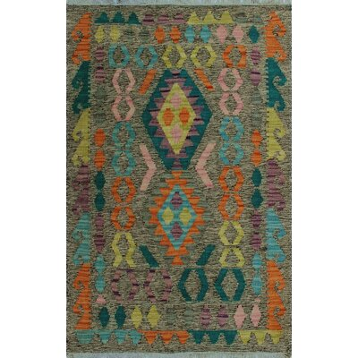 One-of-a-Kind Kratzerville Kilim Abeo Hand-Woven Wool Brown Area Rug