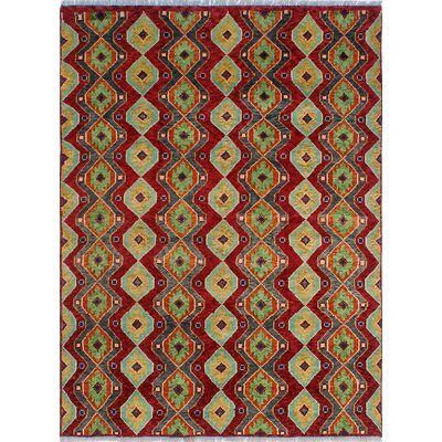 One-of-a-Kind Millender Nayo Hand-Knotted Wool Red Area Rug