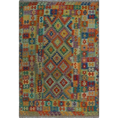 One-of-a-Kind Kratzerville Kilim Izegbe Hand-Woven Wool Blue Area Rug