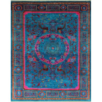One-of-a-Kind Millbourne Fine Chobi Nabi Hand-Knotted Wool Blue Area Rug