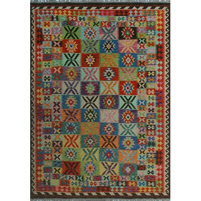 One-of-a-Kind Kratzerville Kilim Salih Hand-Woven Wool Brown Area Rug