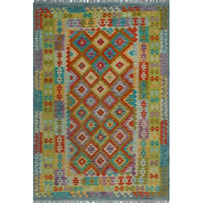 One-of-a-Kind Kratzerville Kilim Obataiye Hand-Woven Wool Rust Area Rug
