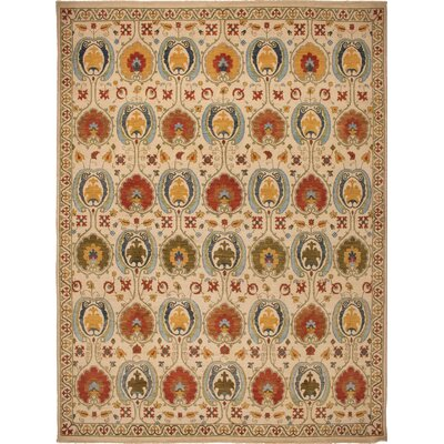 One-of-a-Kind Millbourne Fine Chobi Beatriz Hand-Knotted Wool Ivory Area Rug
