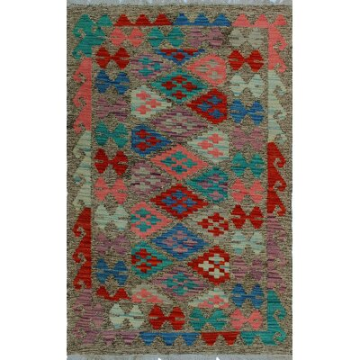 One-of-a-Kind Kratzerville Kilim Ndale Hand-Woven Wool Brown Area Rug