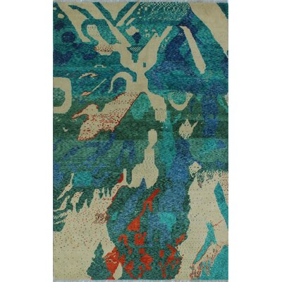 One-of-a-Kind Millender Nuru Hand-Knotted Wool Green Area Rug