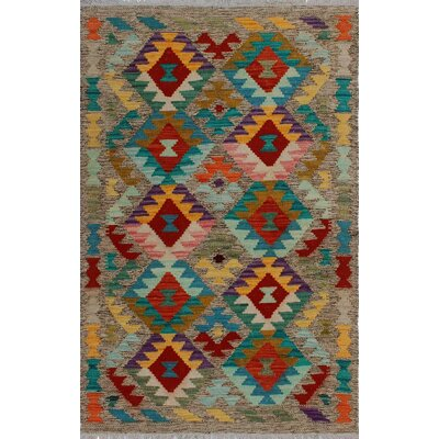 One-of-a-Kind Kratzerville Kilim Akwtee Hand-Woven Wool Brown Area Rug