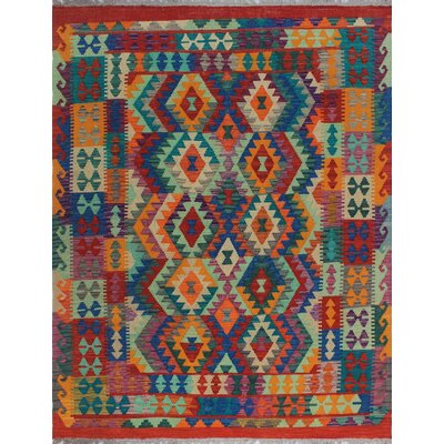 One-of-a-Kind Kratzerville Kilim Kwayera Hand-Woven Wool Red Area Rug