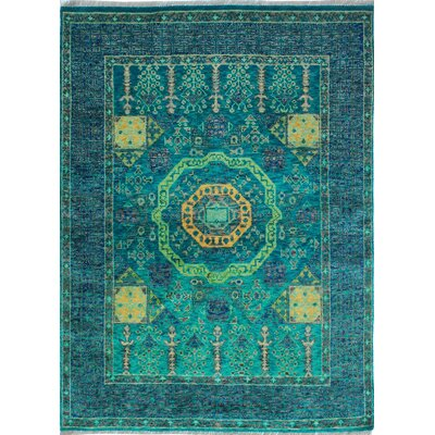 One-of-a-Kind Millender Dakarai Hand-Knotted Wool Teal Blue Area Rug