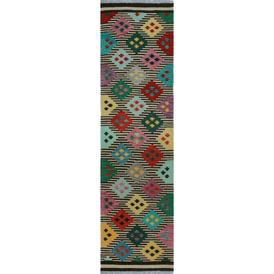 One-of-a-Kind Kratzerville Kilim Mawuli Hand-Woven Wool Ivory Area Rug