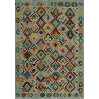 One-of-a-Kind Kratzerville Kilim Husniya Hand-Woven Wool Ivory Area Rug