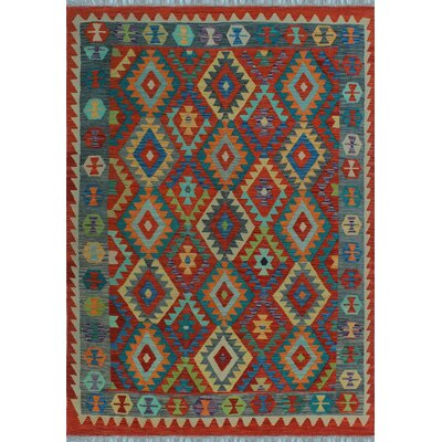 One-of-a-Kind Kratzerville Kilim Ikuseghan Hand-Woven Wool Red Area Rug