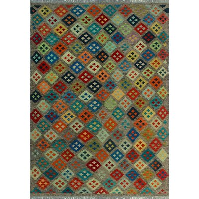 One-of-a-Kind Kratzerville Kilim Fifi Hand-Woven Wool Brown Area Rug