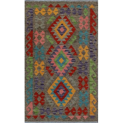One-of-a-Kind Kratzerville Kilim Atu Hand-Woven Wool Brown Area Rug
