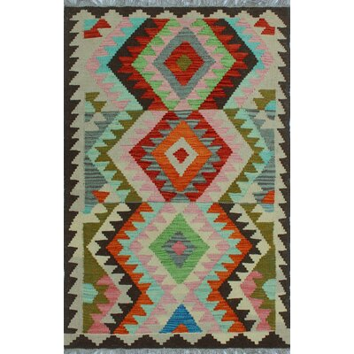 One-of-a-Kind Kratzerville Kilim Lutalo Hand-Woven Wool Chocolate Area Rug