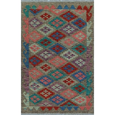 One-of-a-Kind Kratzerville Kilim Safiya Hand-Woven Wool Brown Area Rug