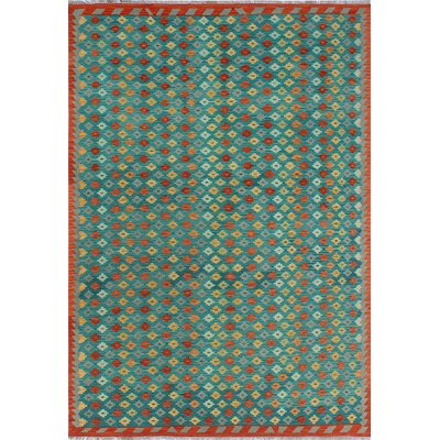 One-of-a-Kind Kratzerville Kilim Ayobami Hand-Woven Wool Green Area Rug