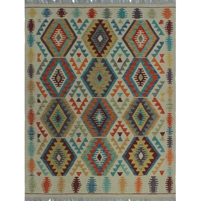 One-of-a-Kind Kratzerville Kilim Salihah Hand-Woven Wool Ivory Area Rug