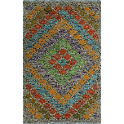 One-of-a-Kind Kratzerville Kilim Ebo Hand-Woven Wool Orange Area Rug