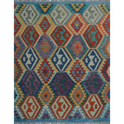 One-of-a-Kind Kratzerville Kilim Kasiya Hand-Woven Wool Purple Area Rug