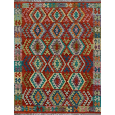 One-of-a-Kind Kratzerville Kilim Abiodun Hand-Woven Wool Red Area Rug