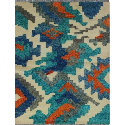 One-of-a-Kind Millender Adesola Hand-Knotted Wool Teal Blue Area Rug