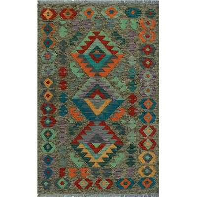 One-of-a-Kind Kratzerville Kilim Idowu Hand-Woven Wool Brown Area Rug