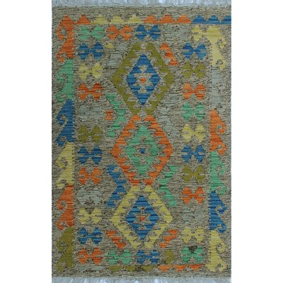 One-of-a-Kind Kratzerville Kilim Olumide Hand-Woven Wool Brown Area Rug