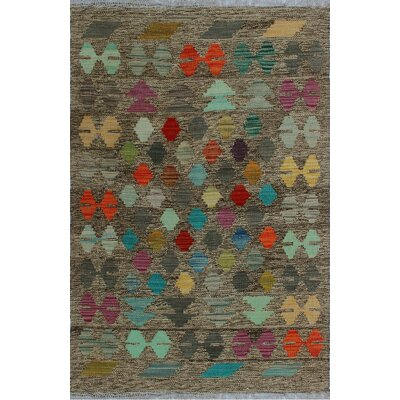 One-of-a-Kind Kratzerville Kilim Afiya Hand-Woven Wool Brown Area Rug