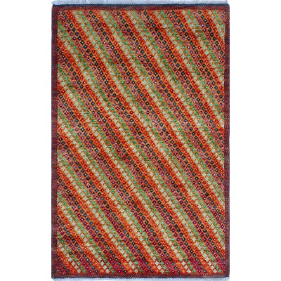 One-of-a-Kind Millender Zawadi Hand-Knotted Wool Orange Area Rug