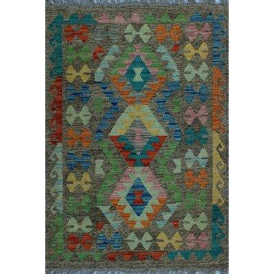 One-of-a-Kind Kratzerville Kilim Rashida Hand-Woven Wool Brown Area Rug