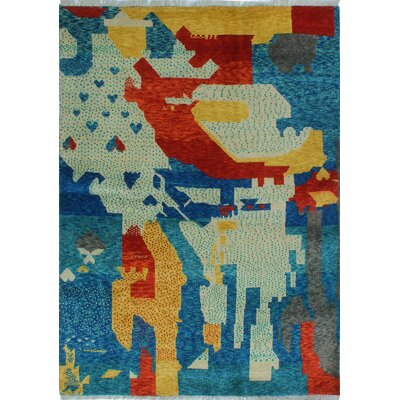 One-of-a-Kind Millender Namono Hand-Knotted Wool Blue Area Rug