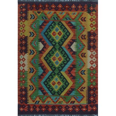 One-of-a-Kind Kratzerville Kilim James Hand-Woven Wool Gold Area Rug