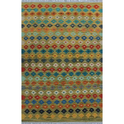 One-of-a-Kind Kratzerville Kilim Noah Hand-Woven Wool Green Area Rug
