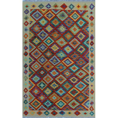 One-of-a-Kind Kratzerville Kilim Alfie Hand-Woven Wool Red Area Rug