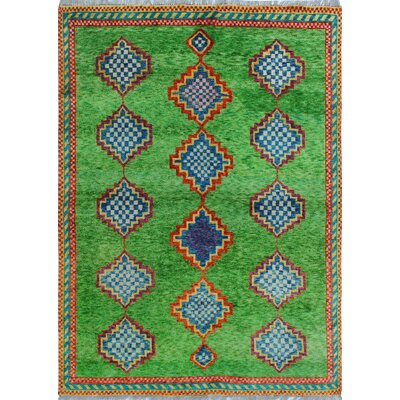 One-of-a-Kind Millender Lateefa Hand-Knotted Wool Green Area Rug
