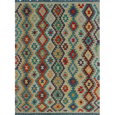 One-of-a-Kind Kratzerville Kilim Joshua Hand-Woven Wool Ivory Area Rug