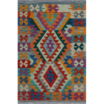 One-of-a-Kind Kratzerville Kilim Siti Hand-Woven Wool Red Area Rug