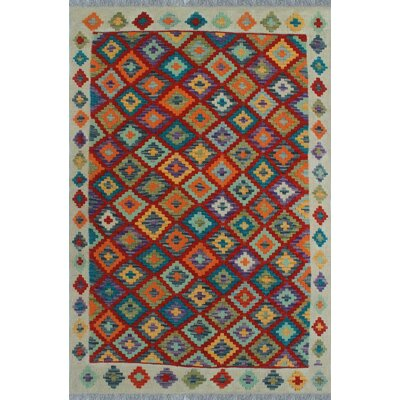 One-of-a-Kind Kratzerville Kilim Henry Hand-Woven Wool Red Area Rug